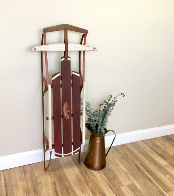 Holiday Home Decor - Flexible Flyer Sled - Front Door Christmas Decoration - Front Porch Decor - Vintage Wooden Sled - Antique Sled