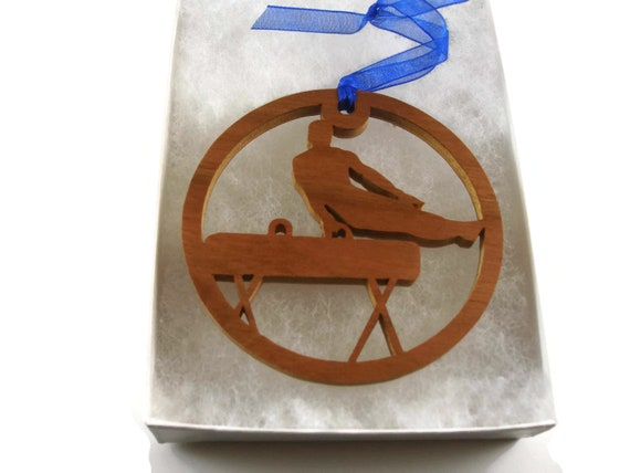 Gymnastics Or Gymnast Christmas Ornament Handmade From Cherry Wood By KevsKrafts