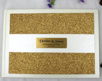 Gold Glitter Engagement Guest Book Memory Album