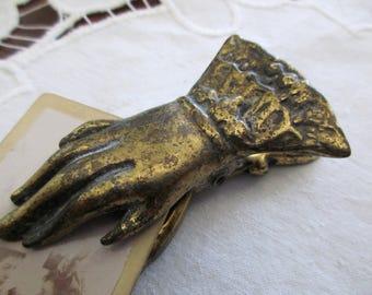 vintage Victorian brass hand letter holder