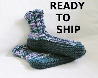 Teal Womens Bedsocks Slippers, Hand Knitted Blues and Purples, Ladies Size 9 - 10