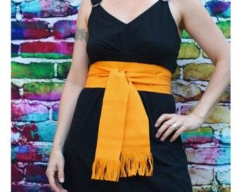 MariGold Yellow Sash, SA69 - Bohemian Belt - Guatemalan Fabric - Yellow Sash Belt - Reenactment Clothing - LARP Belt - Gypsy Sash