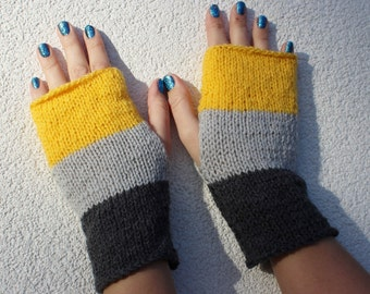 Fingerless Gloves - Gray Gloves - Wrist Warmers - Grey and Yellow Gloves - Ready to ship
