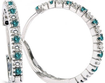 1/2CT Blue & White Diamond Hoops 14k White Gold 1""