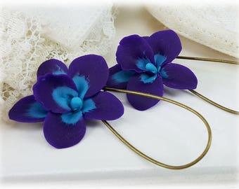 Purple Blue Orchid Earrings - Purple Orchid Earrings, Blue Orchid Earrings, Orchid Jewelry