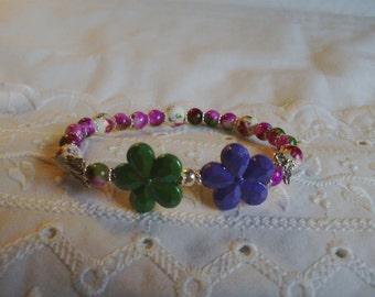 Purple - Green Beaded Flower Bracelet - Beaded Bracelet - Purple and Green Bracelet - Stretch Bracelet