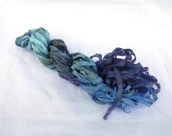 10m hand dyed 4mm width silk ribbon, handdyed variegated silk ribbon, ribbon for embroidery, ribbon embroidery