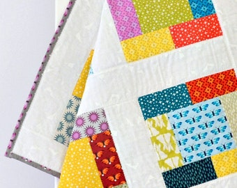 Baby Girl Quilt Purple Yellow Blue Patchwork Quilt Butterflies Flowers Stars Baby Blanket Baby Shower Gift Baby Gift - Paint Box