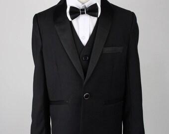 Satin Lapel Black Formal Tuxedo Boys Suit - Pageboy - Wedding