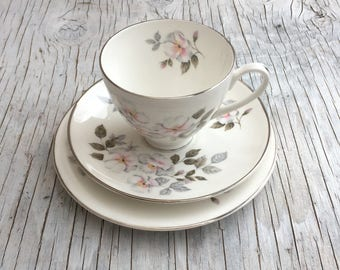 Vintage Fine Bone China tea trio. Royal Adderley Silver Rose. Tea trio for one to four with option for milk jug, sugar bowl & serving plate.
