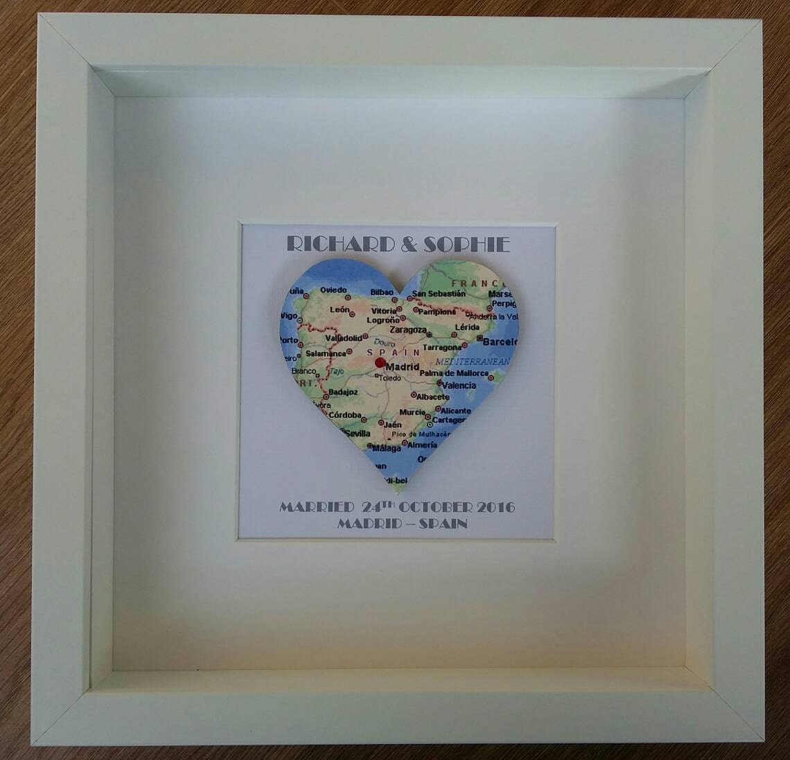Memory box frame Personalised heart Map Wedding location gift
