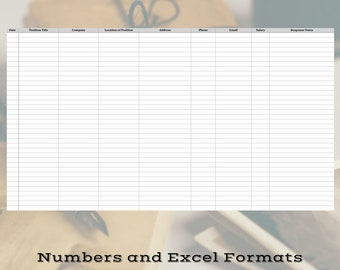 Job Application Log, Numbers and Excel Format