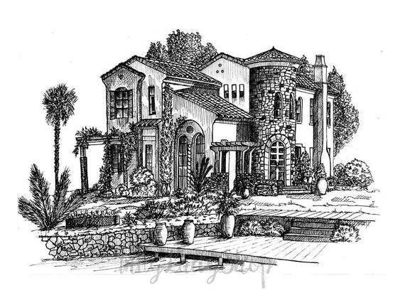 Line Art House : Pen and ink custom house portrait drawing in