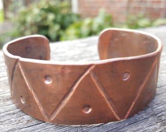 SALE! Zig-zag copper cuff bracelet
