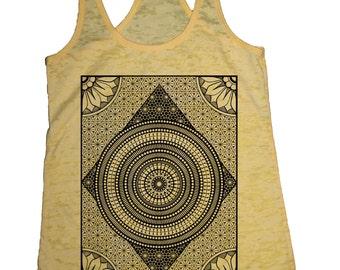 Women's MERIDIANS Tank Top Sacred Geometry Pattern Tattoo Style Shirt