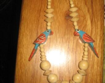 Parrots / Wood Beads Necklace
