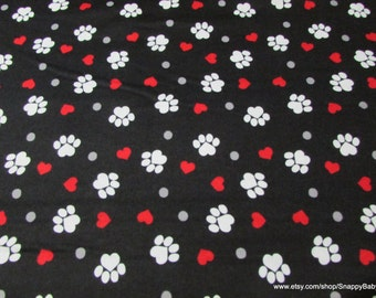 Flannel Fabric - Paw Prints and Hearts on Black - By the yard - 100% Cotton Flannel