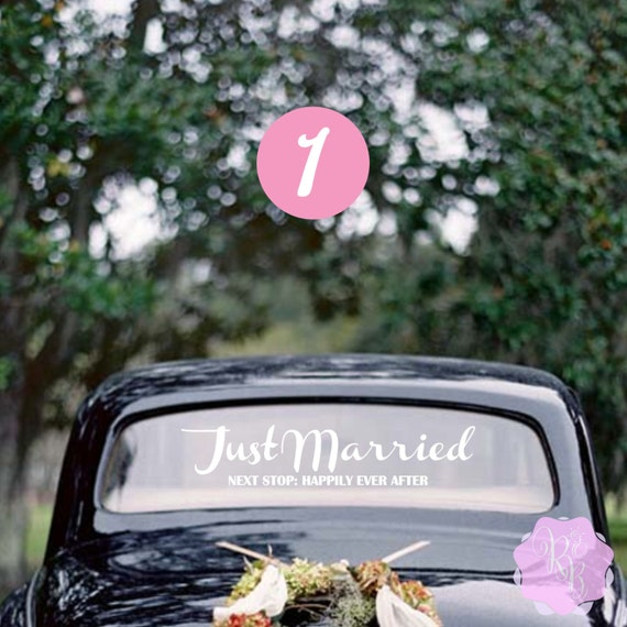 just married next stop happily after wedding car window
