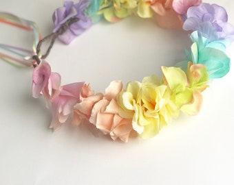 Pastel Rainbow Flower Crown
