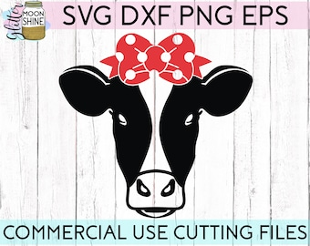 Cow Face Dot Bow svg dxf eps png Files for Cutting Machines Cameo Cricut, Farmhouse, Girly, Funny, Cute, Southern, Baby, Bandana, Country