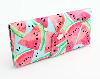 Watermelon Wallet, Women's Long Wallet, Fabric Travel Wallet, Bifold Wallet Organizer, Fruit Summer Wallet - pink watermelon slices