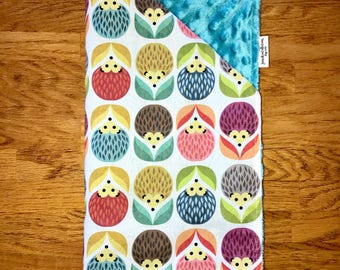 Baby Blanket <<Baby Woodland Hedgehog Flowers>>Teal//Blue//Yellow//Pink//Purple//Green//Orange//Red//Gray