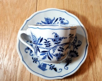 BLUE & WHITE CUP and Saucer Blue Danube Tea Cup Set Blue Onion Vintage Cup and Saucer Set 4 Available Replacement Cup and Saucer Set