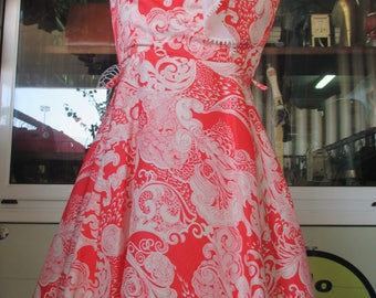 Abito mini anni 60 con ruches.Foderato.Tg. 42/Stunning 60s mini dress/Collar with ruches/Full skirt/Fully lined/Tricetate/Size 6-8 US