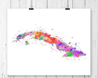 Cuba Watercolor Map #1 Art Print, Poster, Wall Art, Contemporary Art, Modern Wall Decor, Office Decor