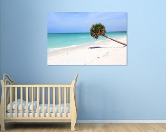 Coastal Photography-Tropical Decor-Beach Photography-Ocean-Palm Tree-Fine Art-Photo on Canvas-20x30-Nautical Decor-Teal-Turquoise-Blue-White