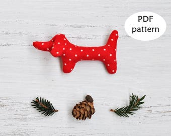 Dachshund Sewing Pattern. Christmas Sewing Pattern. Sausage Dog Sewing Pattern. Christmas Ornament Pattern. Easy Sewing Pattern. Wiener Dog