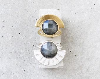 Labradorite Half Moon Ring / sterling silver denim blue statement ring / size 7