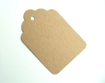 50 extra large 12cm x 8cm jumbo scallop kraft wedding favour tags recycled brown manila card luggage labels