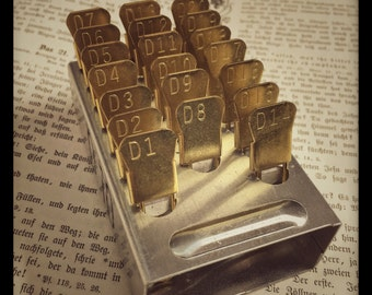 Brass Laundry Pin Set - locker basket pins - numbered pin - WWII numbered safety pins - 20 pins numbered and in original tray