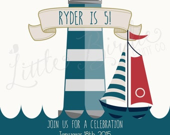 Sailing by the Lighthouse Birthday Invitation