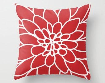 Dahlia Pillow Cover - Red - Modern Flower Throw Pillow - Home Decor - includes insert