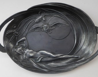 Art Nouveau Jugendstil IMPERIAL METAL Tray. Exotic Scene with Reclining Lady, Iris Flowers, Night Owl and Full Moon