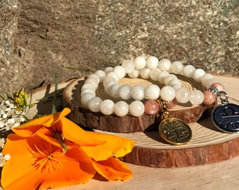LIBRA Bracelet | SUNSTONE & MOONSTONE Crystal Healing Zodiac Bracelet | October Birthstone | Astrology Gifts, Zodiac Jewelry, Zodiac Gift