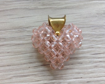 Pink beads Czech glass heart pendant