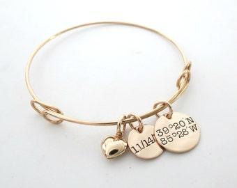 Personalized Coordinate Bracelet - Personalized Bangle - Longitude Latitude - Address - Custom GPS - Heart Bracelet - Date - Brides Gift