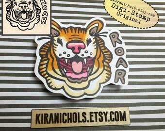 Tiger Digital Stamp - Big Cat Digistamp - Roar Digital Stamp - Coloring Pages - Printable Sticker - Clip Art - Printables