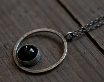 Horizon necklace, circle pendant, black onyx and sterling silver, modern geometric symbol, gender neutral unisex jewellery, KREIS collection