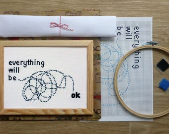 Funny Cross Stitch DIY Kit. Everything will be OK Quote Cross Stitch. Positive Cross Stitch for Beginners.