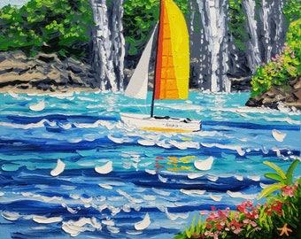 Palette knife painting / textured wall art / seascape painting / ocean painting / original artwork / coastal wall art / canvas art