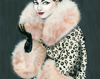Vintage vogue , a print of a beautiful woman in a fabulous cheetah coat with fur trim.