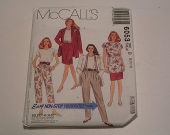 Vintage McCalls Pattern 6053 Miss Unlined Cardigan Tunic Top Skirt Pants in two lengths