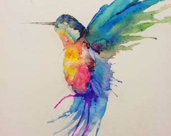Hummingbird Watercolour Print