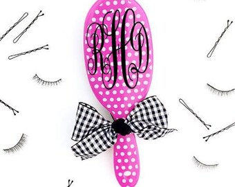 Monogram polka dot paddle brush, Monogram stocking stuffer, personalized hairbrush, small birthday gift