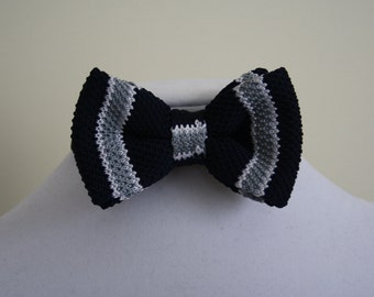 knitting bowtie for man blue white grey - bow tie for wedding