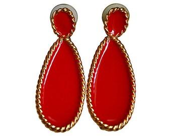 Napier Red Enamel Dangle Earrings